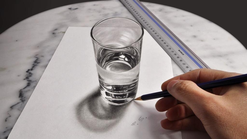 3D Zeichnung Wasserglas