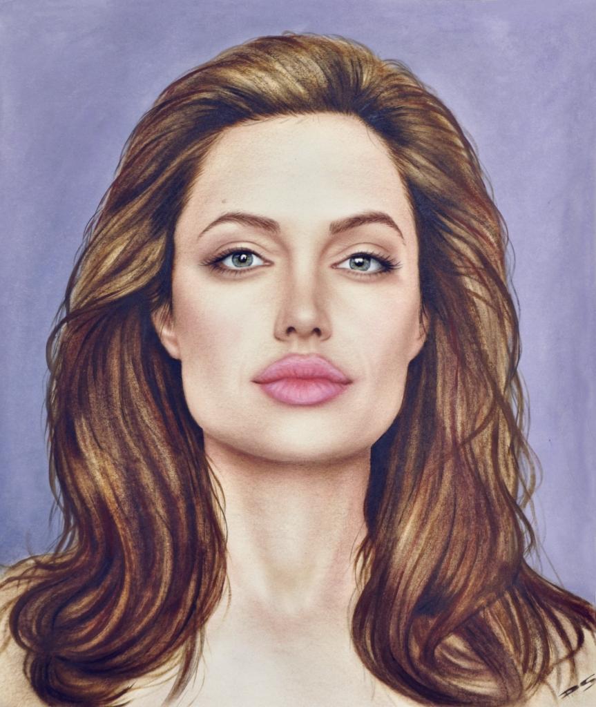 Portrait in Öl Farbe vom Foto Angelina Jolie