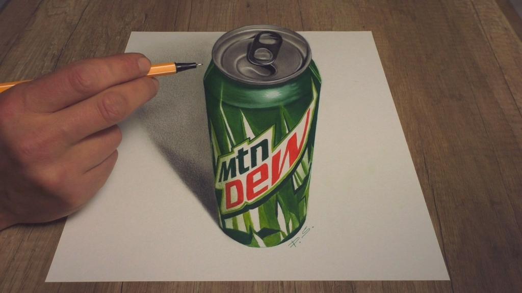 3D Zeichnung Dose Mtn Dew