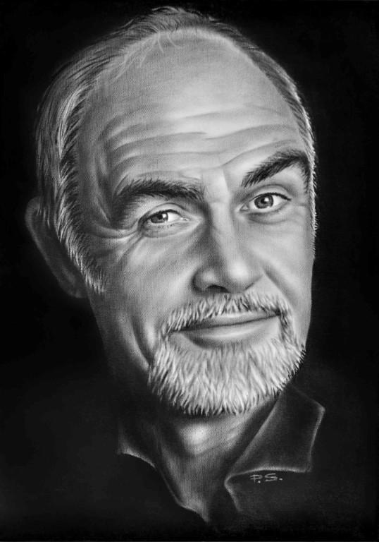 Bild Portrait Zeichnung Sean Connery in Öl