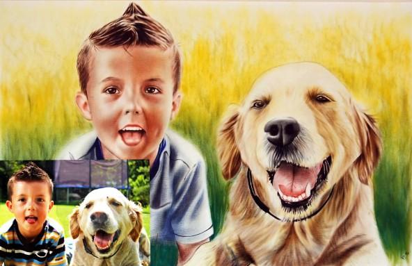 Kinderportrait in Öl Farbe dry brush technique