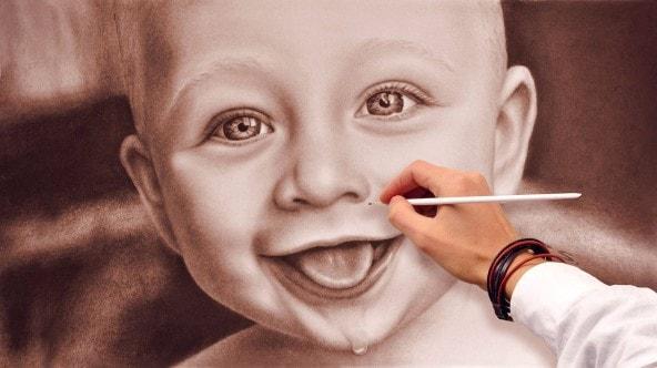 Kinderportrait nach Foto malen lassen