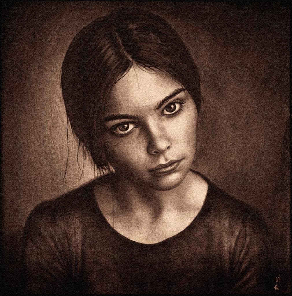 Portrait gemalt in Öl in Sepiafarbe