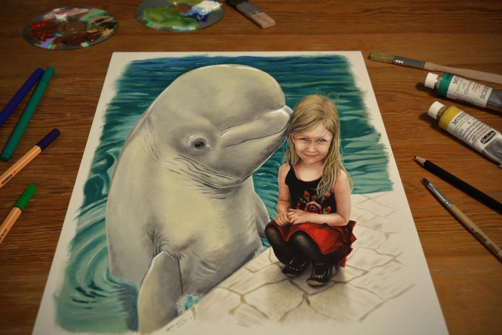 3D Zeichnung Kind mit Delphin