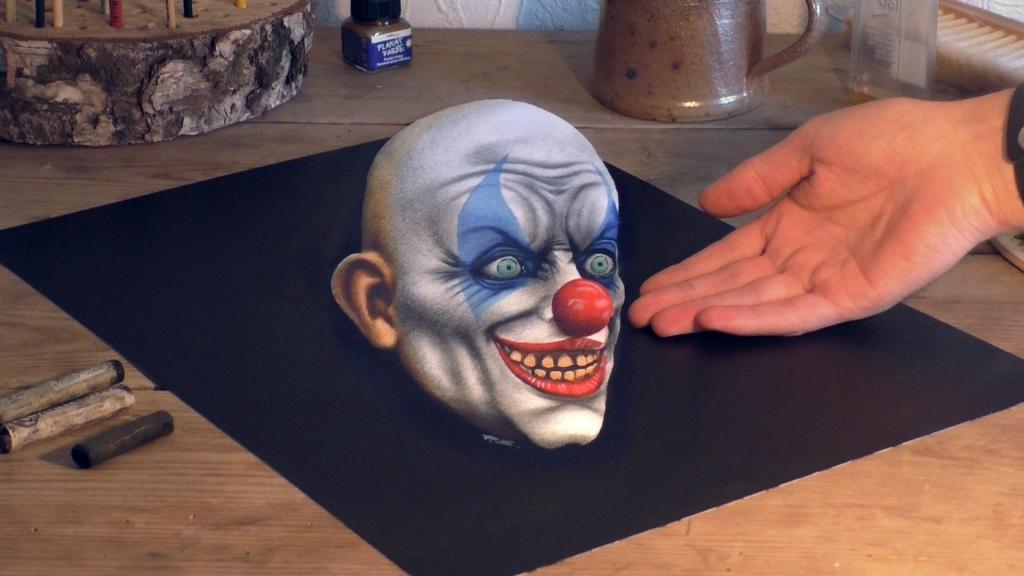 3D Teichnung Clowns Kopf