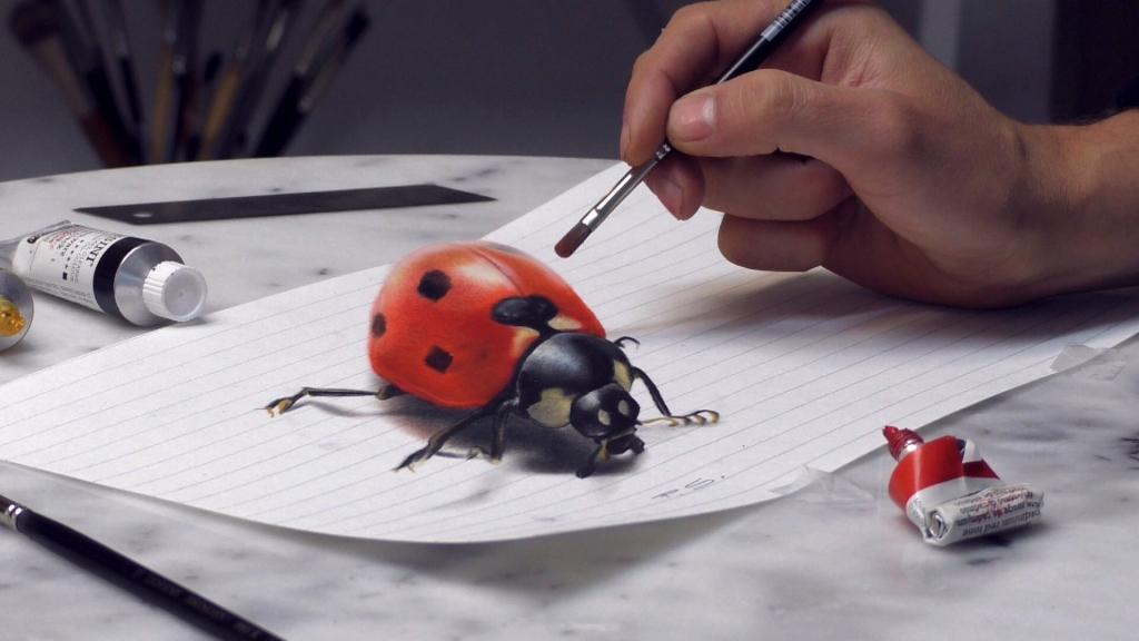 3D Malerei Marienkäfer