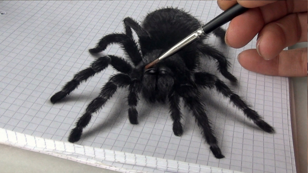 3D Painting black spider
