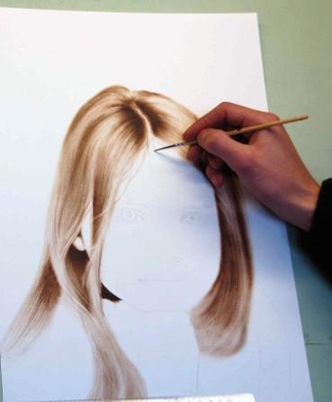 Haare Struktur malen