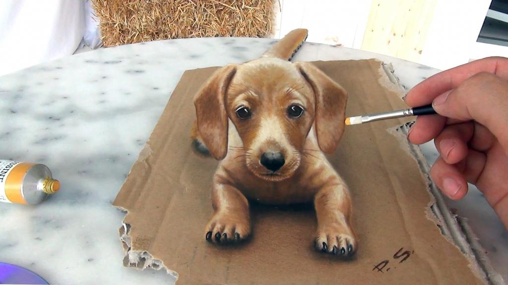 Hund gemalt vom Foto 3D