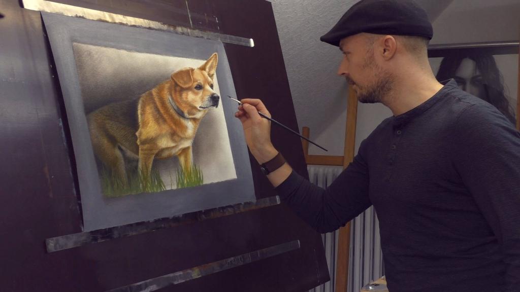 SStefan Pabst malt 3d Hundeportrait