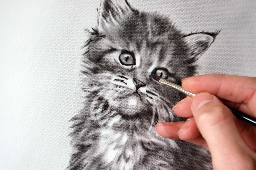 Katze von Foto gemalt